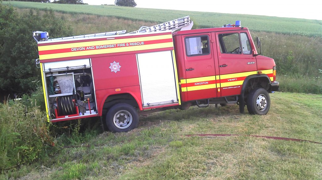 Mercedes fire engine off roading